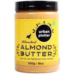 Urban Platter Blanched Almond Butter, 500g / 18oz [Creamy, No Hydrogenated Oil, No Preservatives]