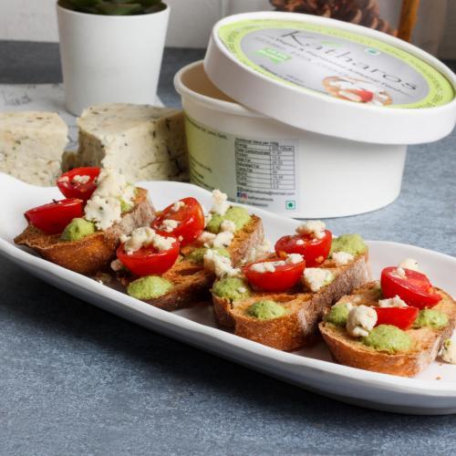Katharos Vegan Herbed Feta Cheeze, 150g / 5.29oz [13.9% Protein, Oil-Free, Preservative Free Cheese]