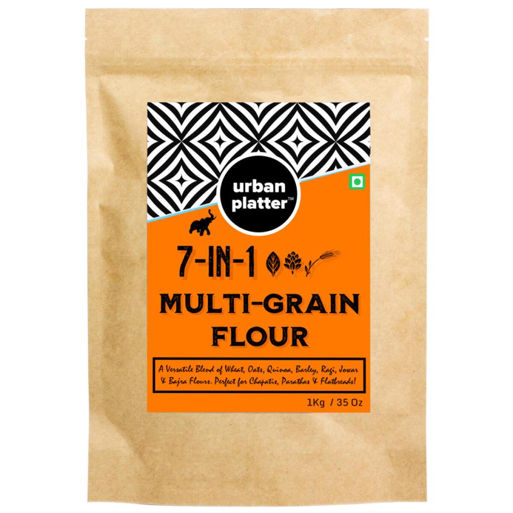 Urban Platter 7 in 1 Super-Grain Flour, 1Kg / 35.2oz [Blend of Wheat, Bajri, Ragi, Jowar, Quinoa, Oats & Barley Flour]