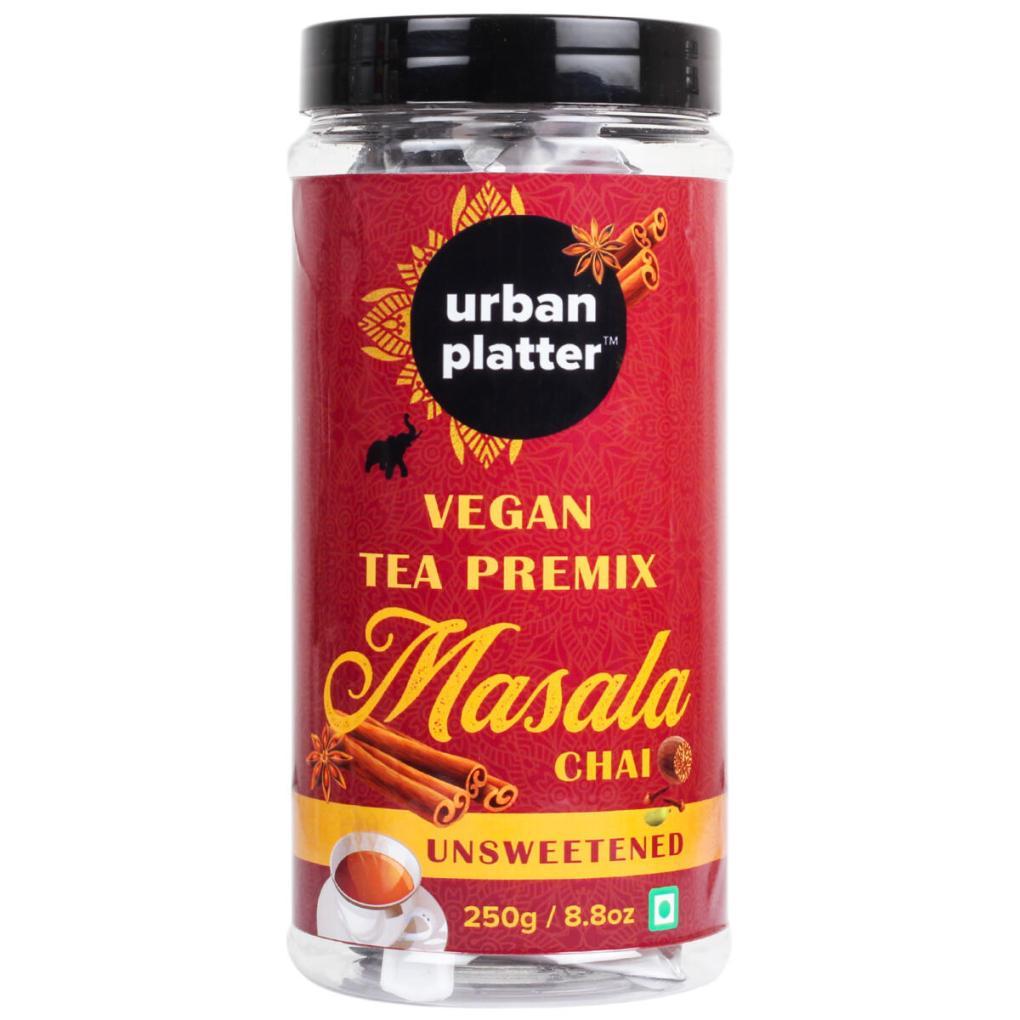 Urban Platter Unsweetened Vegan Tea Premix, Masala Chai, 250g / 8.8oz [Just Add Water, No Sugar, Masala Tea, Dairy-Free Instant Tea]