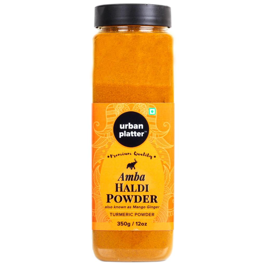 Urban Platter Amba Haldi Powder Shaker Jar, 350g / 12oz [Mango Ginger Turmeric Powder]