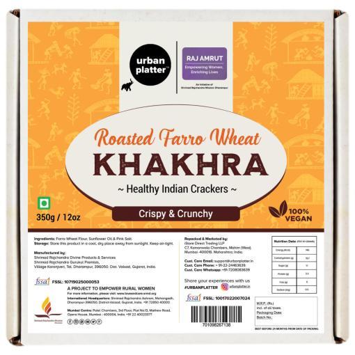 Urban Platter Crispy Roasted Farro Wheat Khakhra (Crackers), 350g / 12oz [Powered By Shrimad Rajchandra Women Empowerment Programme]