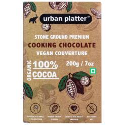 Urban Platter Stone Ground Premium Cooking Chocolate Vegan Couverture, 200g / 7oz [100% Cocoa, Single Origin Bean, No Trans Fat]