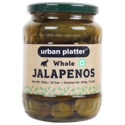 Urban Platter Whole Jalapenos in Brine, 720g / 25.3oz [Drained Weight 360g]