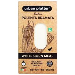 Urban Platter Italian White Corn Meal Polenta Bramata, 1Kg / 35.2oz [White Corn Meal, Ideal with Mushroom Ragout]