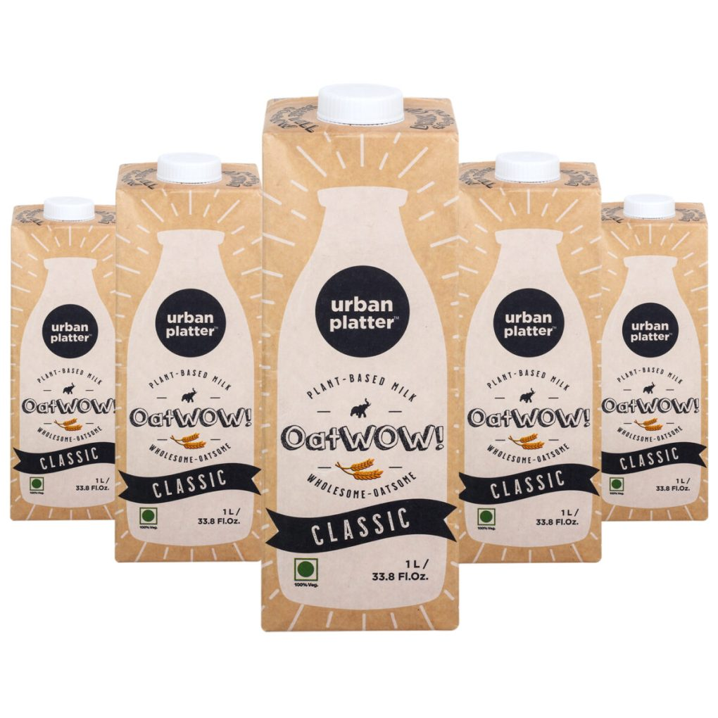 Urban Platter OatWOW Classic, 1 Litre / 35.2fl.oz [Pack of 12, Dairy-free Oat Milk, Naturally Sweet and Creamy, Lactose-free] [Best Before: 18/03/2021]