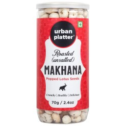 Urban Platter Roasted Unsalted Makhana, 70g / 2.4oz [Crunchy & Healthy Popped Lotus Seeds]