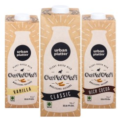 Urban Platter OatWOW Variety Pack, 1 Litre / 35.2fl.oz [Classic, Rich Cocoa & Vanilla Oat Milk]