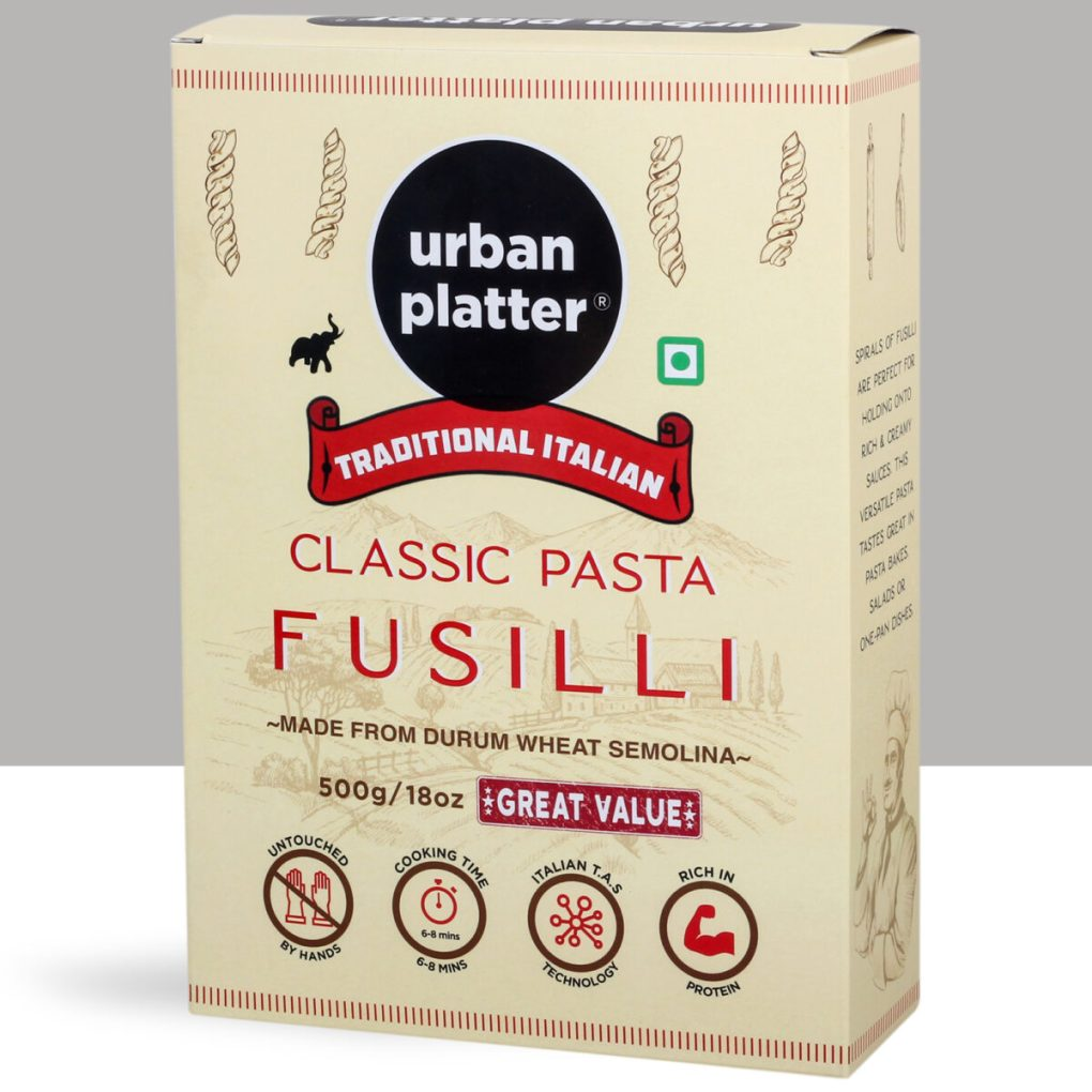 Urban Platter Traditional Italian Classic Fusilli Pasta,1kg [500g x Pack of 2, Made from Durum Wheat Semolina]