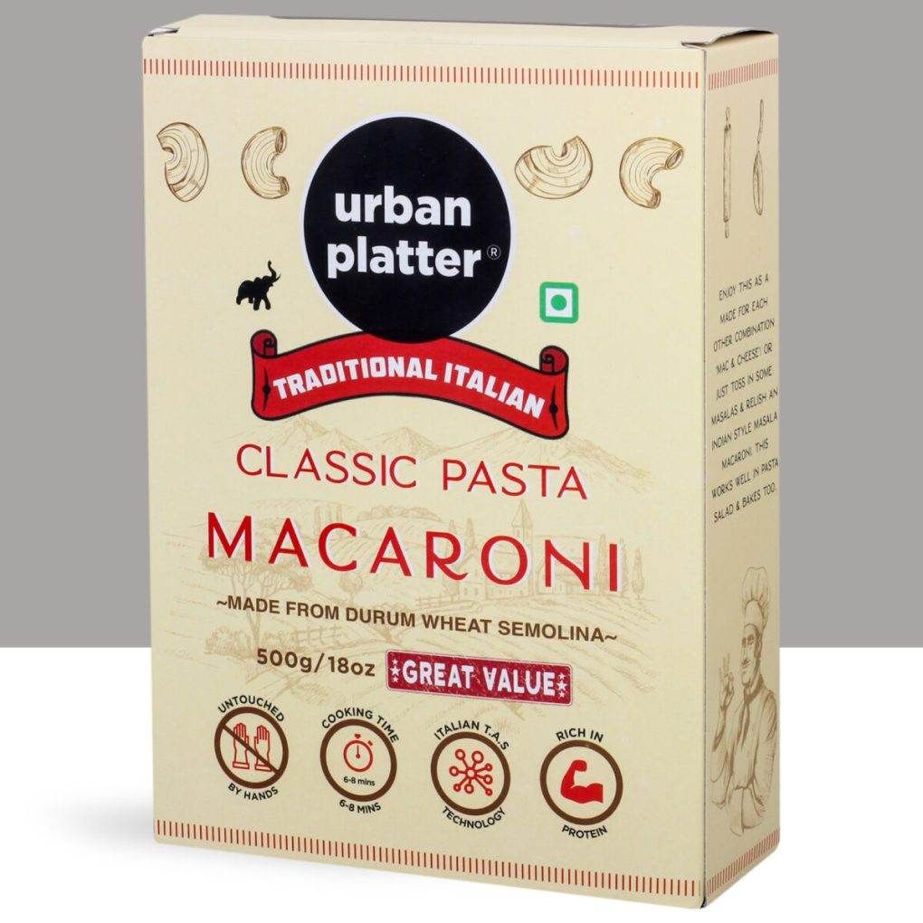 Urban Platter Traditional Italian Durum Wheat Semolina Classic Macaroni Pasta, 1Kg (500g x Pack of 2)