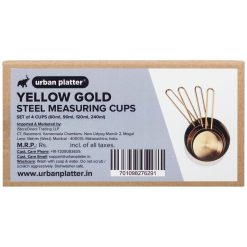 Urban Platter Yellow Gold Steel Measuring Cups [Set of 4 Cups - 60ml, 90ml, 120ml, 240ml]