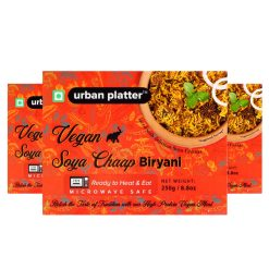 Urban Platter Vegan Soya Chaap Biryani, 250g / 8.8oz [Pack of 3, Vegan Meals, Ready to Heat & Eat, Microwave Safe]