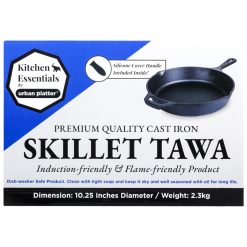 Urban Platter Induction Friendly Pre-Seasoned Cast Iron Skillet Tawa [Silicone Handle Included], Diameter 10.25""