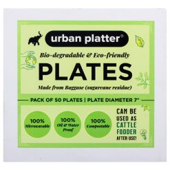 Urban Platter Bagasse Eco-friendly Round Plates, [7 inches, Pack of 50]