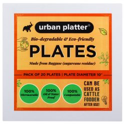 Urban Platter Bagasse Eco-friendly Round Plates, [10 inches, Pack of 20]