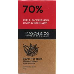 Mason & Co. 70% Chilli and Cinnamon Dark Organic Artisanal Chocolate Bar 60g