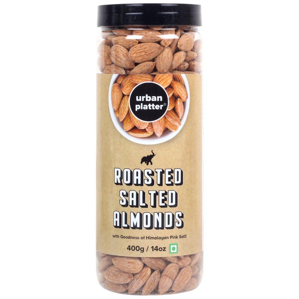 Urban Platter Roasted Salted California Almonds, 400g