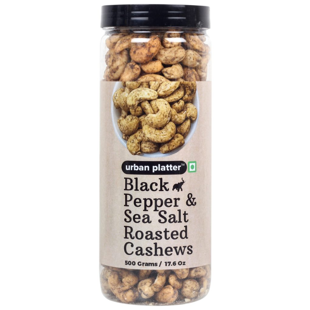 Urban Platter Black Pepper & Sea Salt Roasted Cashew Nuts, 500g / 17.6oz [Delicious and Crunchy Snack]