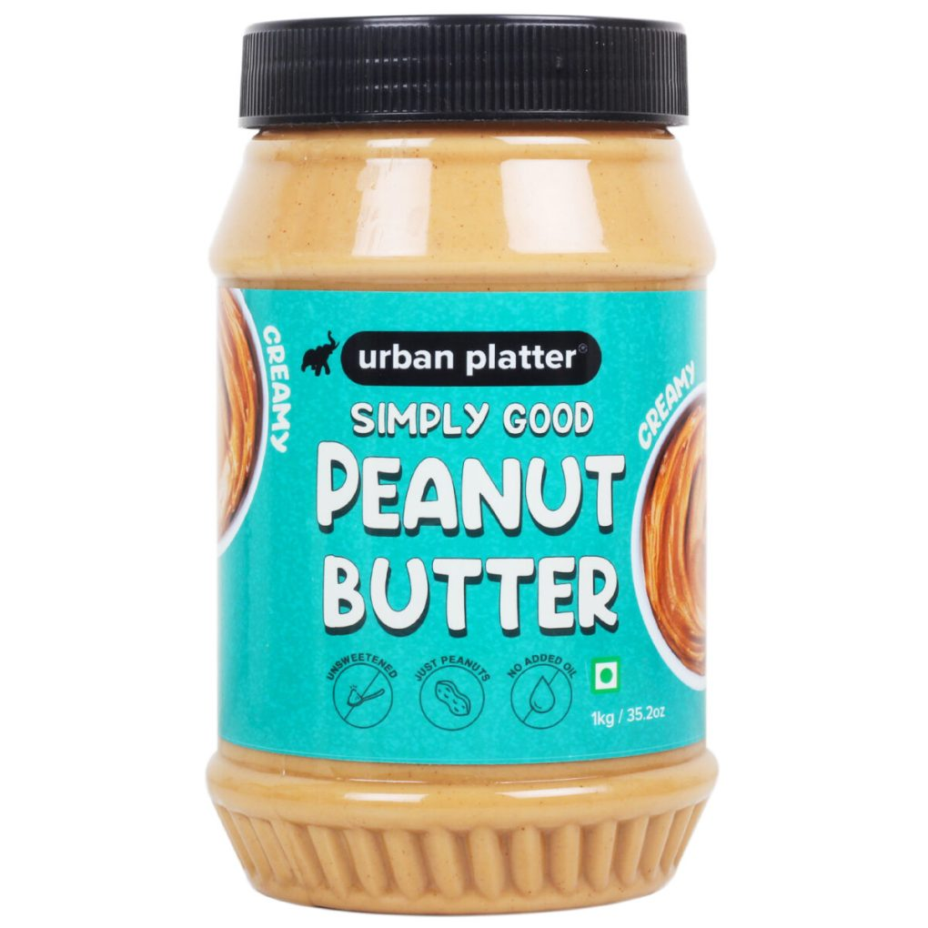 Urban Platter Natural Creamy Peanut Butter, 1kg / 35.2oz [Unsweetened, No Added Oil, Vegan]