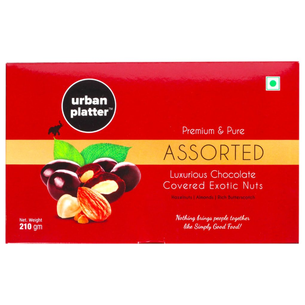 Urban Platter Assorted Luxurious Chocolate Covered Exotic Nuts, 210g