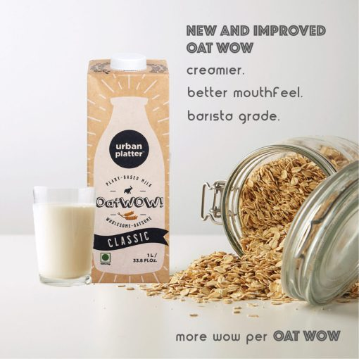 Urban Platter OatWOW Vanilla, 1 Litre / 35.2fl.oz [Pack of 6, Dairy-free Oat Milk, Delicious and Aromatic, Lactose-free]