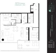 488 UNIVERSITY - FLOORPLAN TWO BED 1075 SQ FT - CONTACT YOSSI KAPLAN
