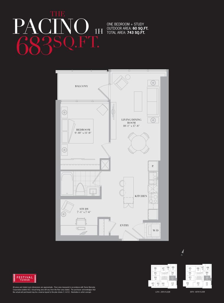 80 JOHN - ONE BEDROOM FLOORPLAN 683 SQ FT