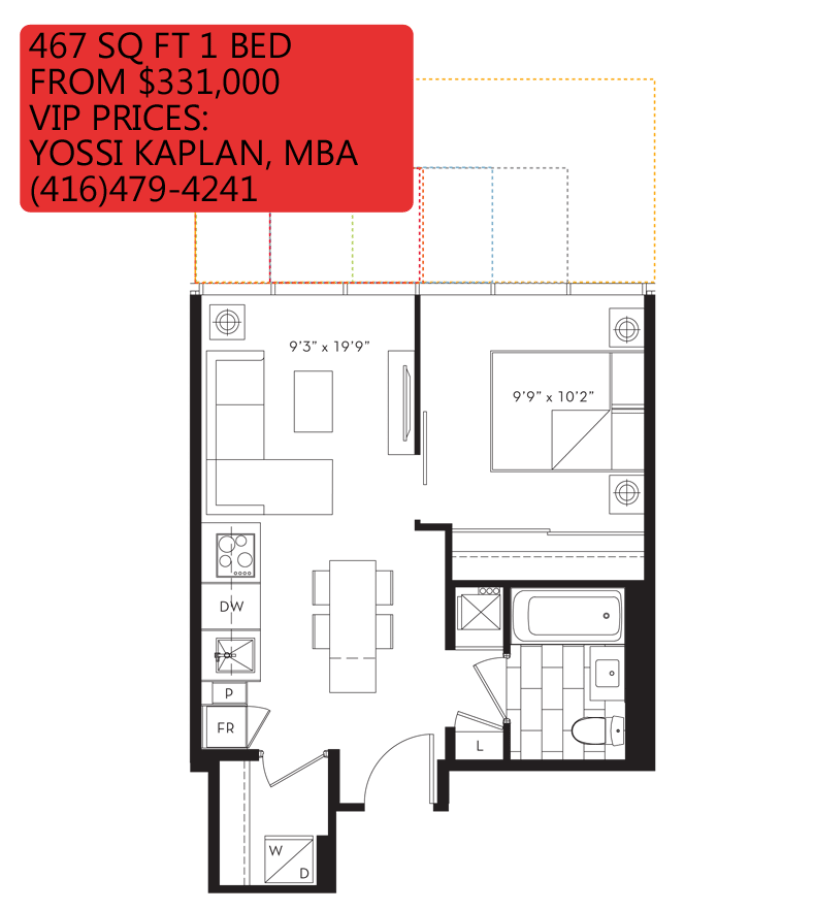 88 QUEEN CONDOS - FLOORPLANS ONE BED 467 SQ FT - CONTACT YOSSI KAPLAN