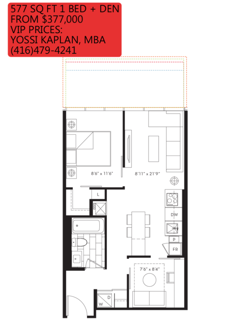 88 QUEEN CONDOS - FLOORPLANS ONE PLUS DEN 577 SQ FT - CONTACT YOSSI KAPLAN