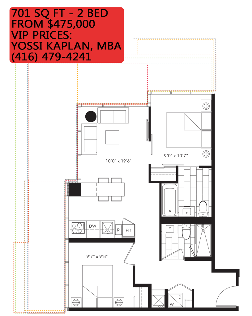 88 QUEEN CONDOS - FLOORPLANS TWO BED 701 SQ FT - CONTACT YOSSI KAPLAN