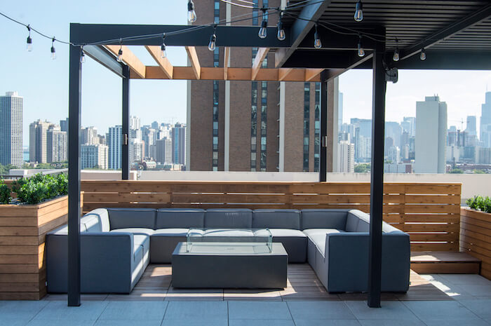 Rooftop Deck With Steel Pergola And Lounge Chicago