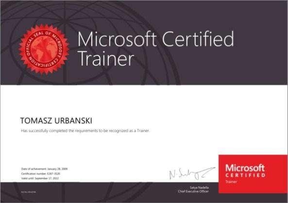 Tomasz Urbański, Microsoft Certified Trainer