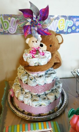 7 diaper cake on table