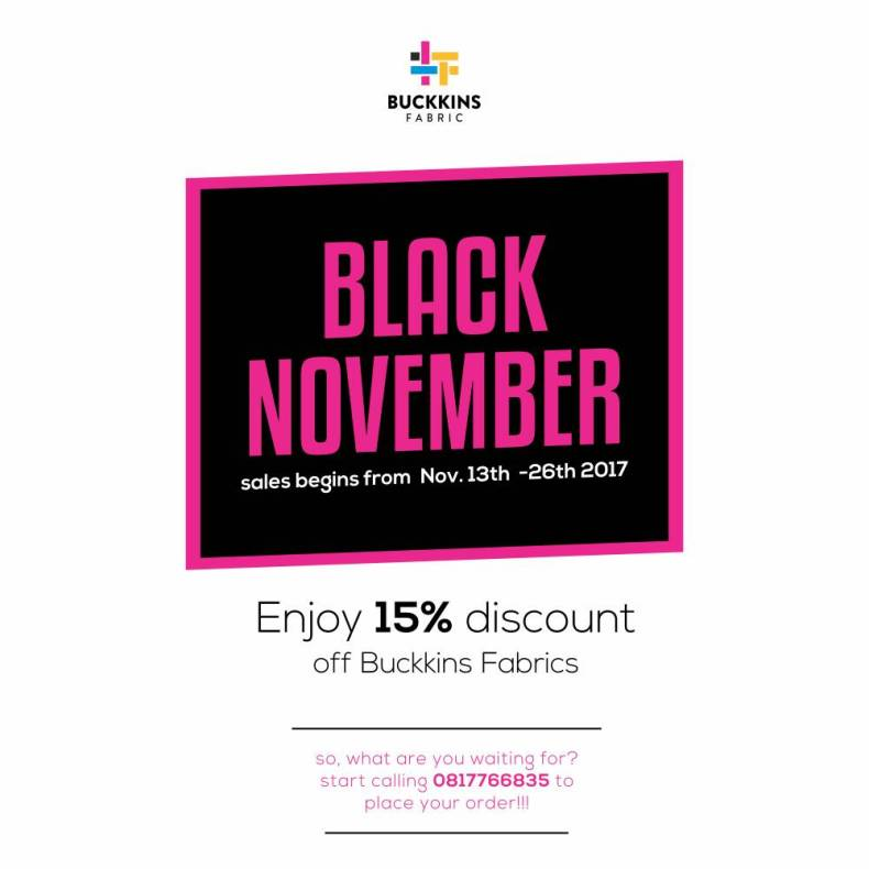Buckkins Fabric Black November
