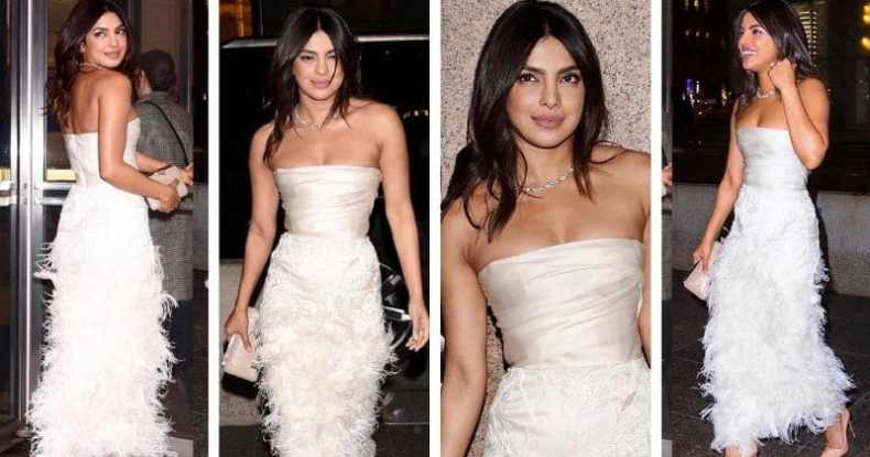 Priyanka chopra wears Marchesa dress for bridal shower