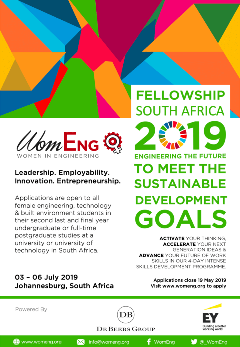 Women in Engineering (WomENG) Fellowship for South Africans 2019