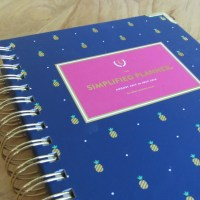Emily Ley Simplified Planner, Navy with Gold Pineapples, Close Up