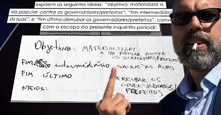 PF encontra na casa de Allan dos Santos bilhete incitando ataques contra governadores