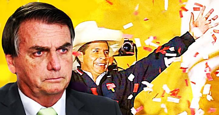 """""""Perdemos o Peru"""", diz Bolsonaro sobre a provável vitóriado candidato de esquerda, Pedro Castillo, no país"""