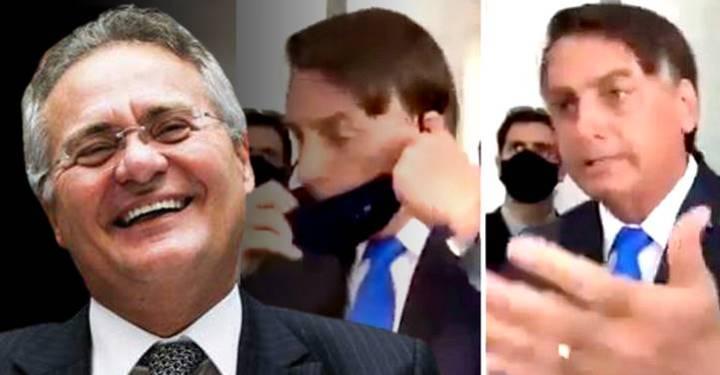"""Renan sobre Bolsonaro: """"Pode não ser o caso dele usar máscara, mas focinheira ou bridão de argola"""""""