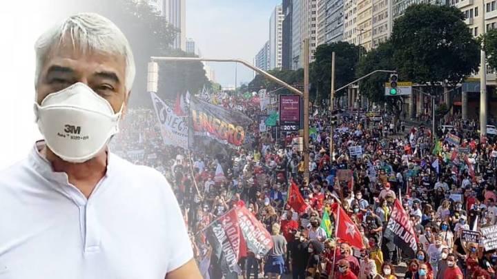 """""""O povo não aguenta mais o desgoverno Bolsonaro"""", diz Humberto Costa no 3J em Pernambuco"""
