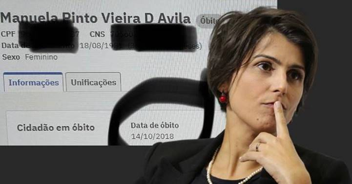 """""""Eles me mataram depois do 1º turno das eleições"""", diz Manuela sobre data de seu óbito no SUS desde 2018"""