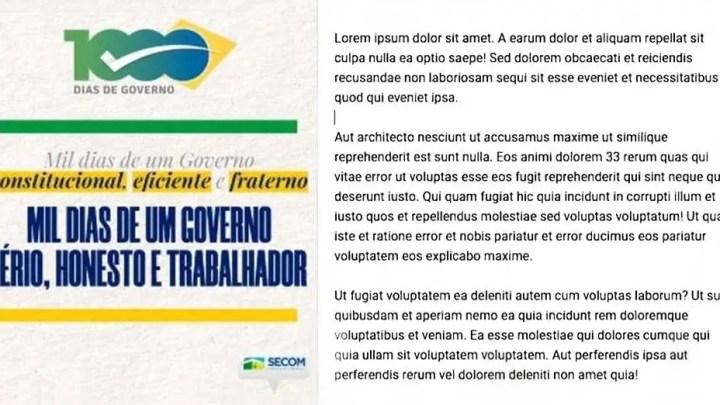 Texto Lorem Ipsum, para celebrar 'Mil Dias de um governo sério, honesto e trabalhador', é apagado do site do Planalto