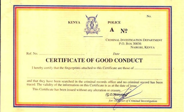 Police certificate