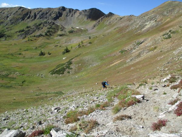 A steep final push up to Bowen Pass in the Never Summer Wilderness.
