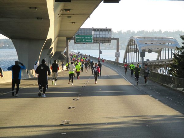 The run on the I-90 bridge over Lake Washington was quick and pleasant for them. They were about to be pummeled as they made their way north a short while later along the lake.