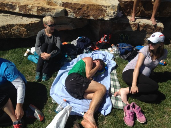Unfortunately, the post-race fetal position had to make an appearance after the race was over. I thought these days were behind me. Still have more to learn.