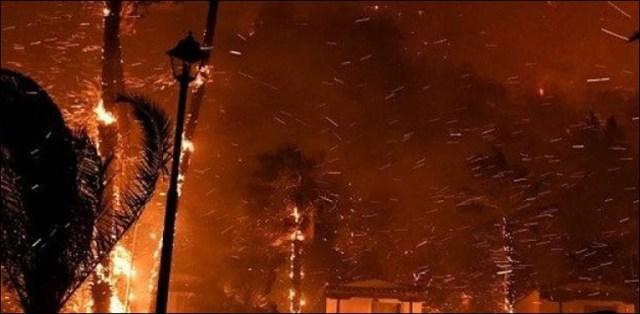 رات کے وقت آسمان سرخ، فضا میں انگارے، شہری خوفزدہ 1