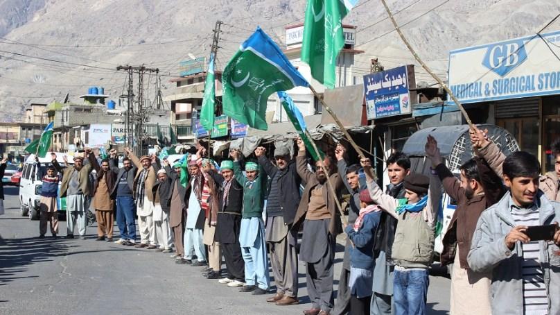 یوم یکجہتی کشمیر کے موقعے پر گلگت میں ضلعی انتظامیہ اور جماعت اسلامی کے زیر اہتمام ریلیاں نکالی گئی