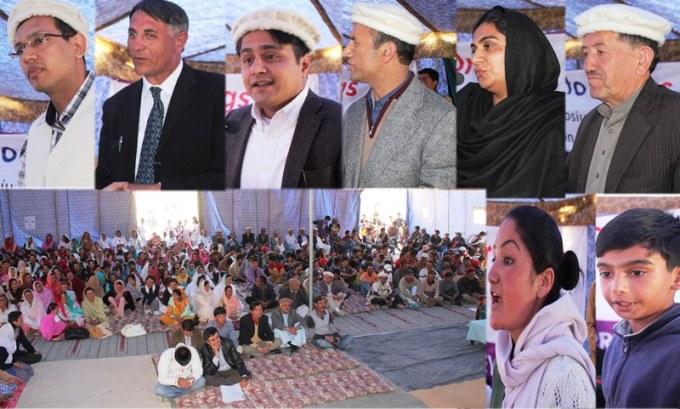 پھسو گوجال میں منعقدہ تقریب سے ڈی آئی جی پولیس، رینجلں کونسل برائے ہنزہ کے صدر شریف خان، اسسٹنٹ کمشنر ہنزہ، نذیر احمد بلبل اور دیگرا خطاب کر رہے ہیں
